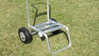 背負動噴は薬剤を入れると意外と重くなります。この台車に載せて噴霧を行なえば、重い動噴を背負わずに楽に作業が行えます。